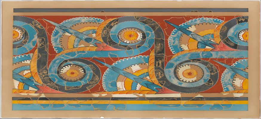 Reproduction of the  Great S-spiral frieze  fresco  from the forecourt of Tiryns palace  c 1400-1200BC  Met